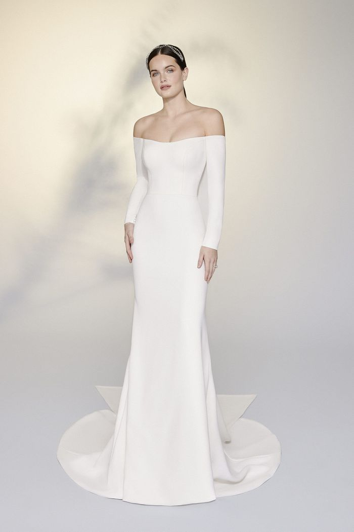 Justin Alexander Signature Style 99190 Margot Long Sleeve Stretch Crepe Fit and Flare Gown