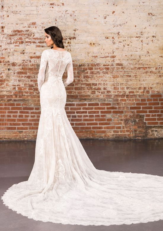 Justin Alexander Signature  Long Sleeve Lace Fit and Flare Gown with Illusion Back