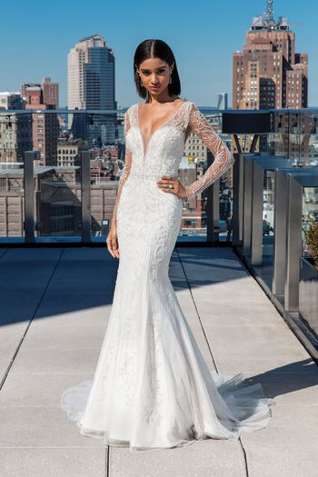 Justin Alexander Signature Style 99030 Plunging V Allover Beaded Fit and Flare Dress