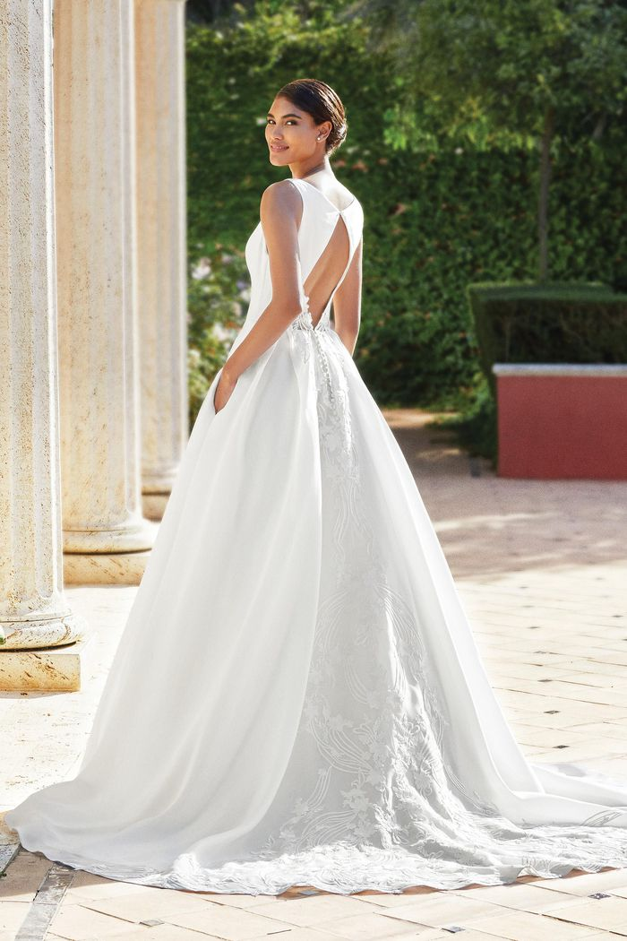 Sincerity Bridal Style 44195 Organdy Skirt Ball Gown with Horsehair Hem and Crepe Bodice