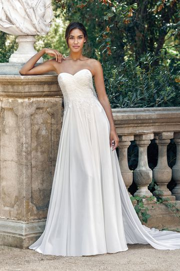 Sincerity Bridal Style 44115 Strapless Chiffon and Beaded Lace Gown with Watteau Detachable Train
