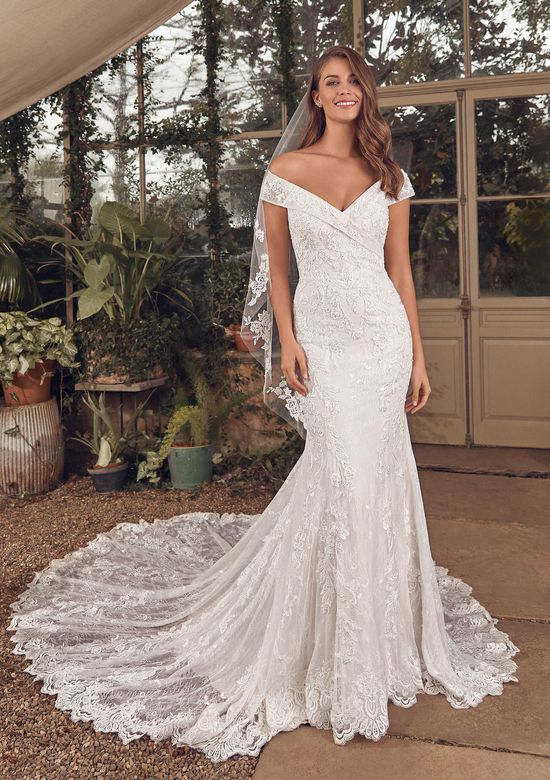 Justin Alexander Style 88163 Aidan Fit and Flare Gown with Allover Beaded Lace and Portrait Neckline