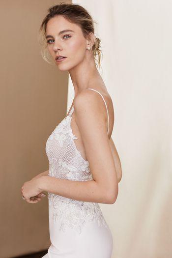 Justin Alexander Signature Style 99102 Danica Bikini Embroidered Bodice Crepe Fit and Flare Gown