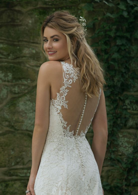 Sincerity Bridal Style 44063 Allover Lace A-Line Gown with Illusion Back