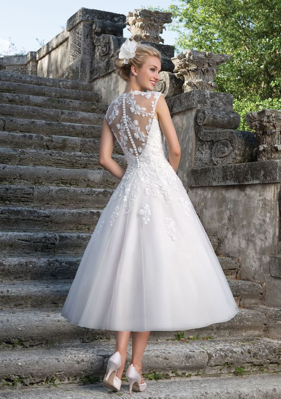 Sincerity Bridal Style 3875 1950s-Inspired Tulle Tea Length Gown with Keyhole Back