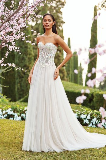 Sincerity Bridal Style 44174 Strapless A-line Gown with Floral Appliqués and Tulle Skirt