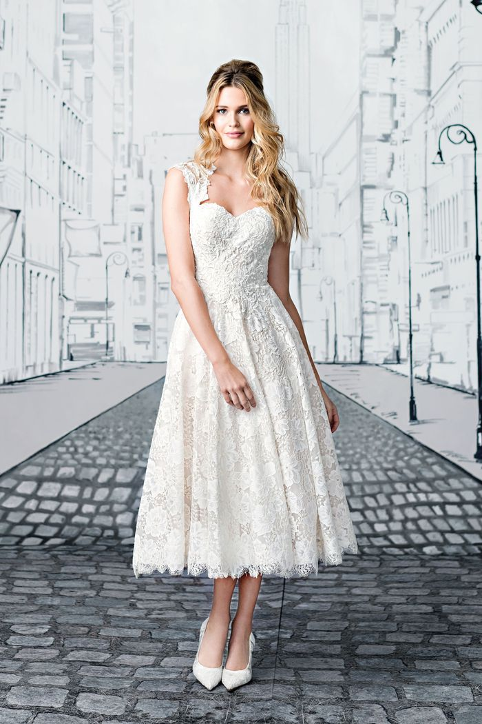 Justin Alexander Style 8904 Lace Tea Length Ball Gown with Open Keyhole Back