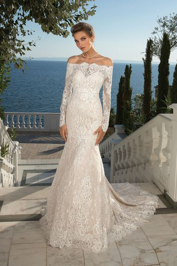 Justin Alexander Style 88087 Allover Lace Trumpet Gown with Detachable Long Sleeve Jacket