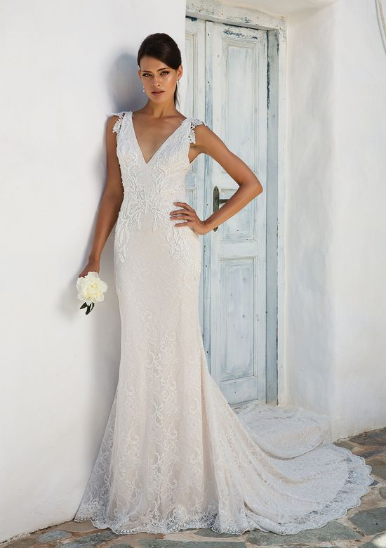 Justin Alexander Style 8966 Romantic Chantilly Lace Gown with Beaded Lace Appliques, V-Neck and Deep V-Back
