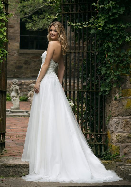 Sincerity Bridal Style 44046 Lace Bodice with Asymmetrical A-Line Tulle Skirt