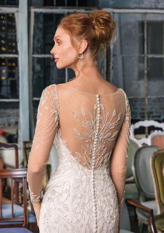 Justin Alexander Signature style 99014 Long Sleeved Illusion Beaded Mermaid Gown