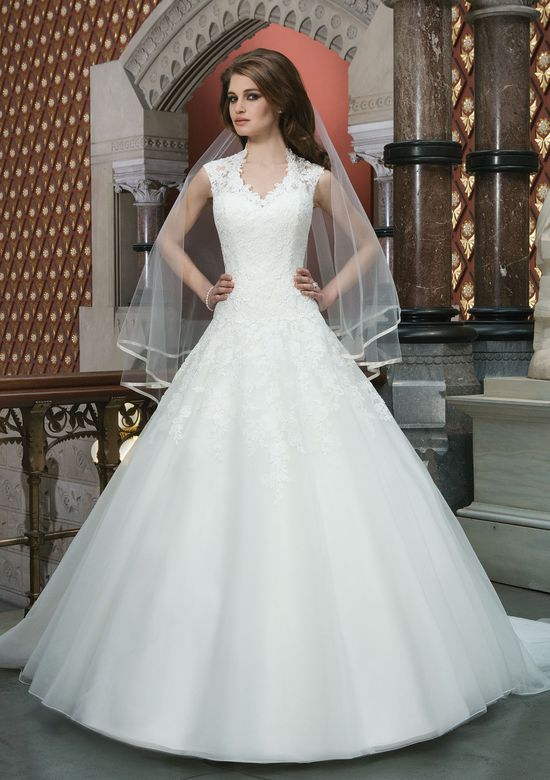 Justin Alexander Style 8720 Lace Ball Gown with Queen Anne Neckline