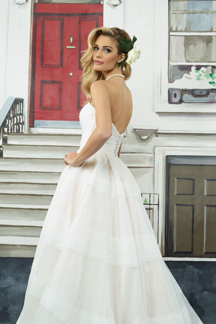 Justin Alexander Style 8949 Tiered Organza Ball Gown with Cummerbund