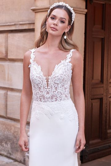 Adore by Justin Alexander Style 11170 Makenna Stretch Crepe Fit and Flare Dress with Lace and Criss-Cross Back