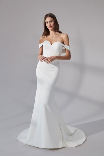 Justin Alexander Signature Style 99177 Helena Satin Fit and Flare Dress with Cuffed Off the Shoulder Neckline
