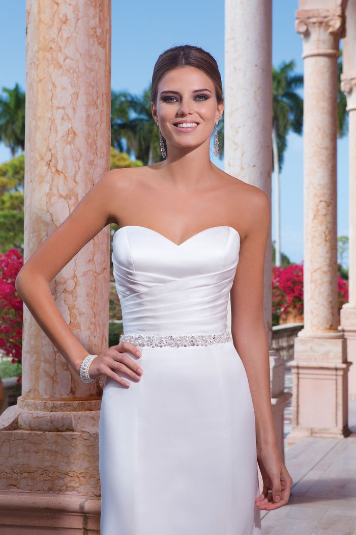 Sweetheart Gowns Style 6045 Satin fit and flare dress accented with a sweetheart neckline