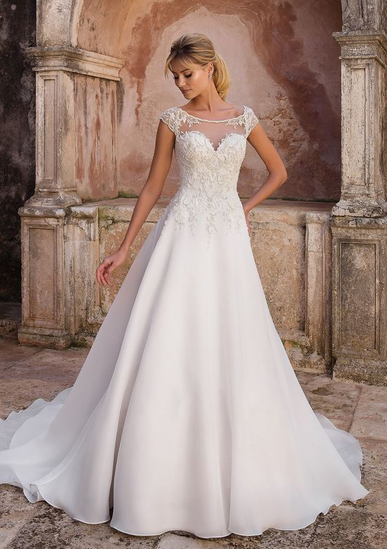 Justin Alexander Style 88056 Illusion Beaded Portrait Neckline Dress with Clean Skirt