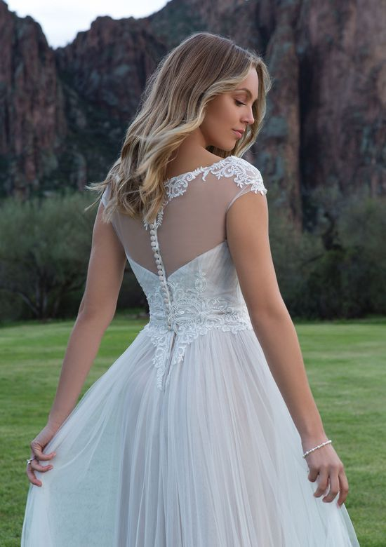 Sweetheart Gowns Pleated English Net Gown with Embroidered Lace Waist