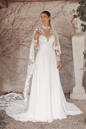 Justin Alexander Style 88140 Abrianna Chiffon A-Line Dress with Lace and Illusion Mandarin Collar