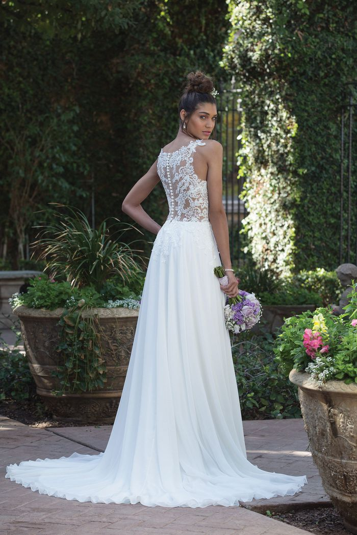 Sincerity Bridal Style 4014 Illusion Bodice A-Line Gown with Delicate Chiffon Skirt