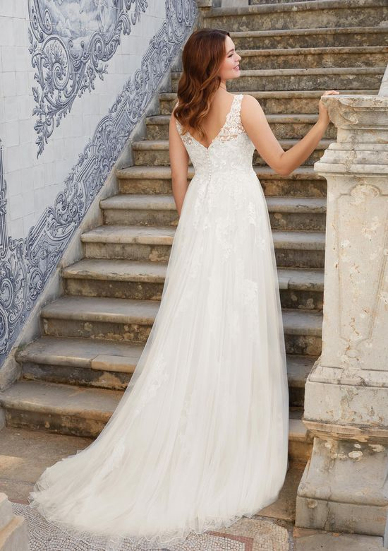 Sincerity Bridal Style 44146 Open V-Neck A-Line Tulle Gown with Venice Lace
