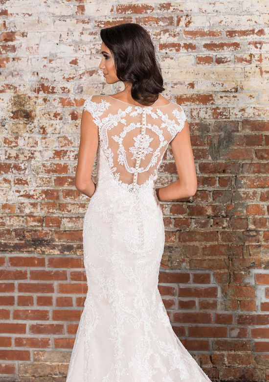 Justin Alexander Signature Style 9845 Sequin and Lace Gown with Illusion Back and Monarch Train