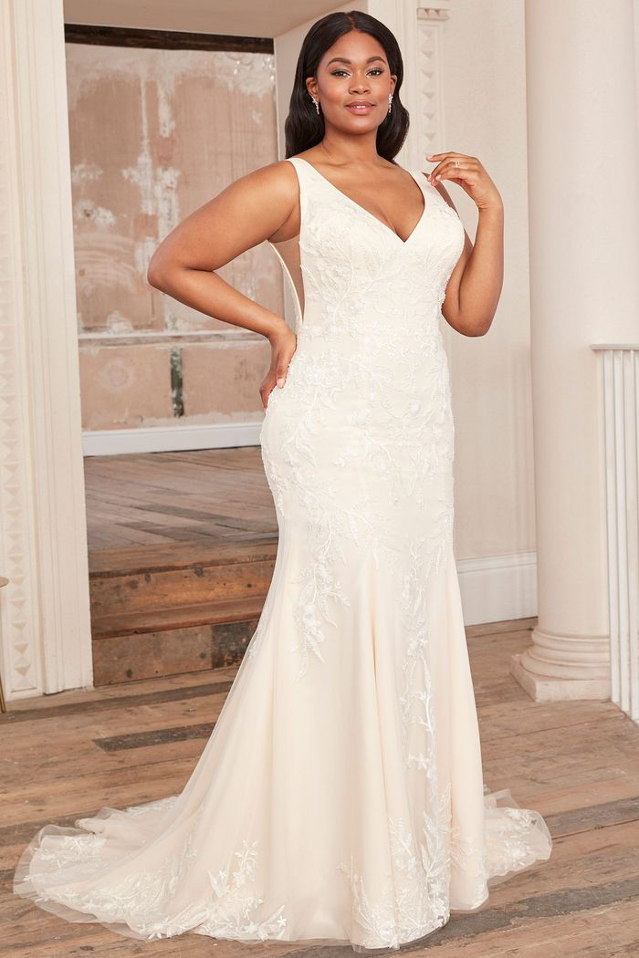Adore by Justin Alexander Style11136PS Beaded Plus Size Fit and Flare Dress with V-Back
