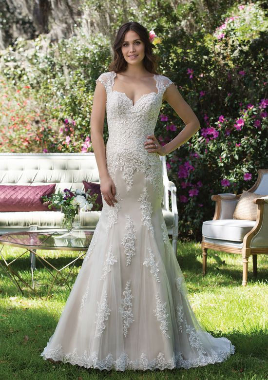 Sincerity Bridal Style 3962 Satin and Lace Gown with Queen Anne Neckline and Keyhole Back