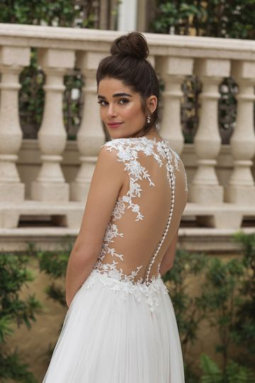 Sincerity Bridal Style 44094 Queen Anne Lace Neckline Slim A-line Gown