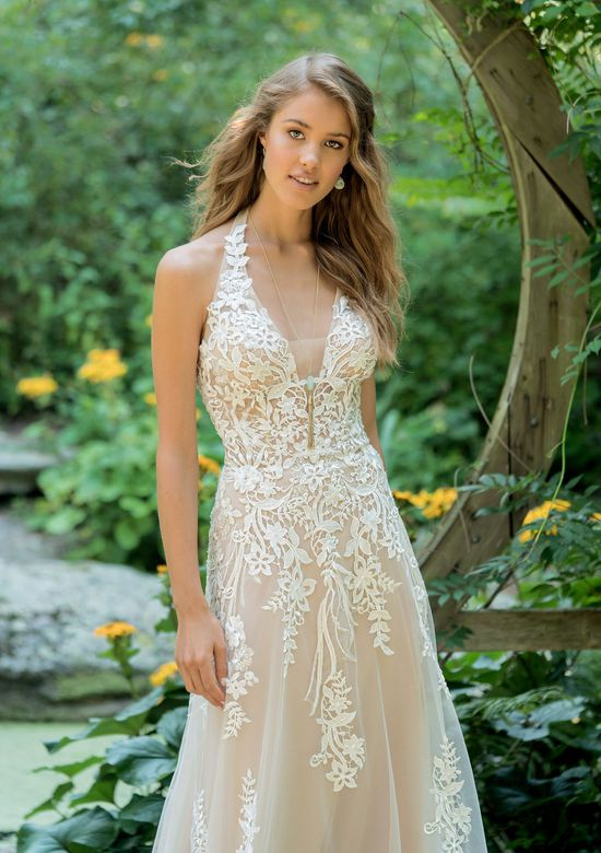 Lillian West Style 66010 Illusion Lace Halter A-Line Gown with Sequins