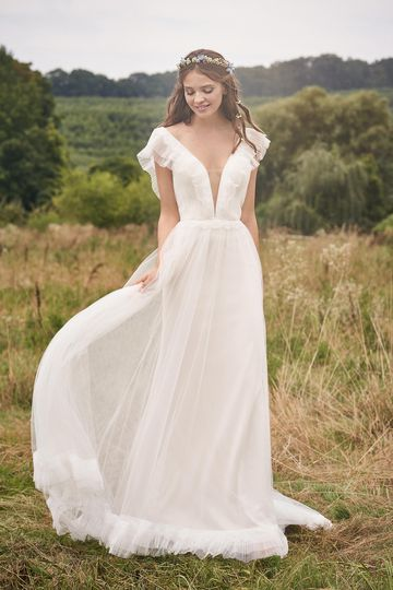 Lillian West Style 66128 Pleated English Net A-Line with Tiered Flutter Sleeves and Hem
