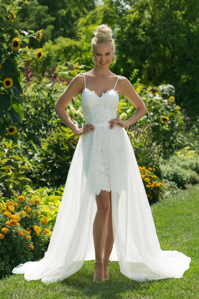 Sweetheart Gowns Style 11000 Sweetheart Mini Gown with Straps and a Tulle Skirt