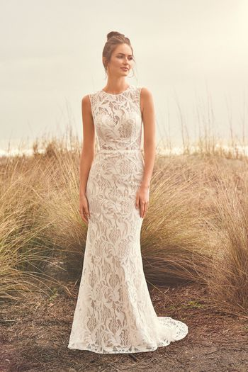Lillian West Style 66114 Allover Lace Sleeveless Gown