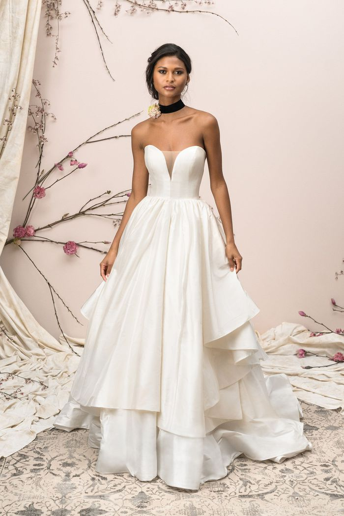 Justin Alexander Signature Tiered Silk Dupion Ball Gown with Plunging Neckline