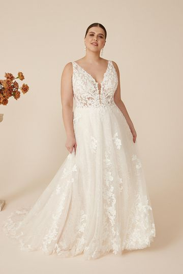 Justin Alexander Style 88226PS Catalina Plunging V-Neck Plus Size A-Line Dress with Sequined Glitter Tulle