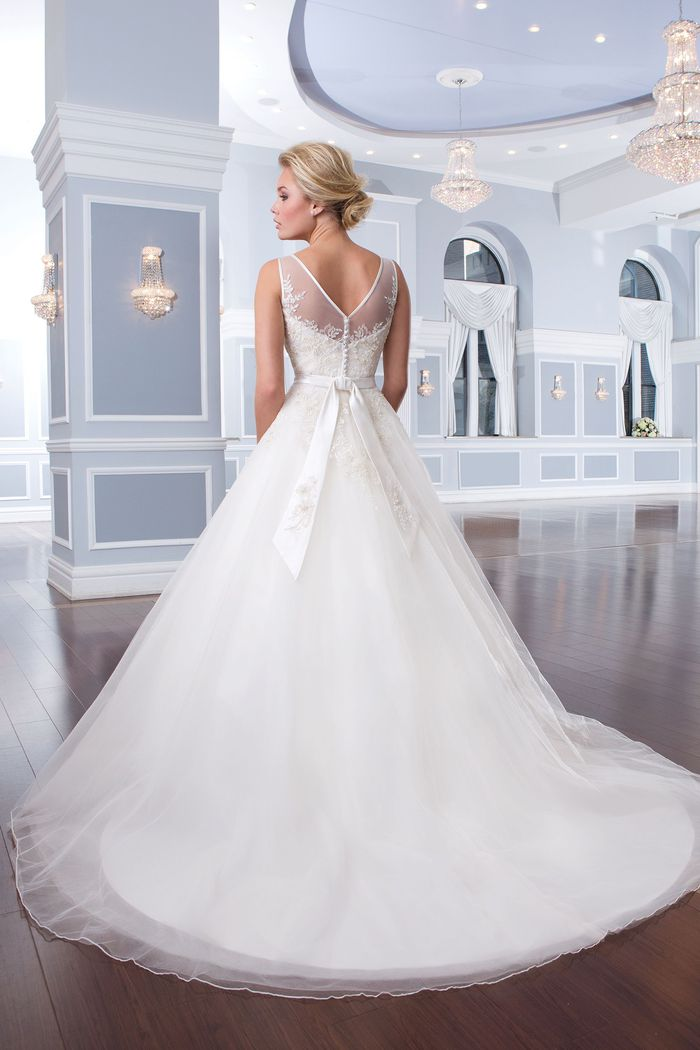 Lillian West Style 6295 Tulle Ball Gown accented with a Sabrina Neckline