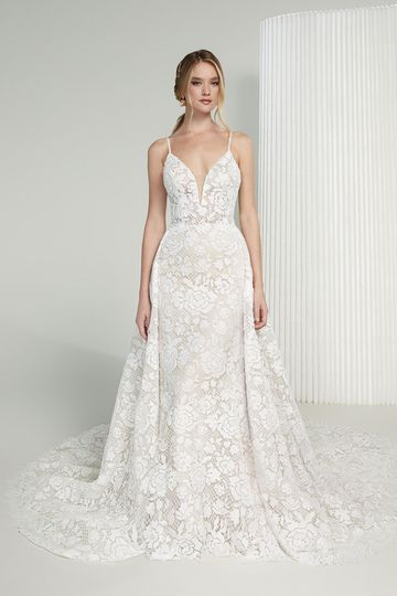 Justin Alexander Signature Style 99219 Meryl Allover Cotton Lace Fit and Flare Dress with Bikini Neckline