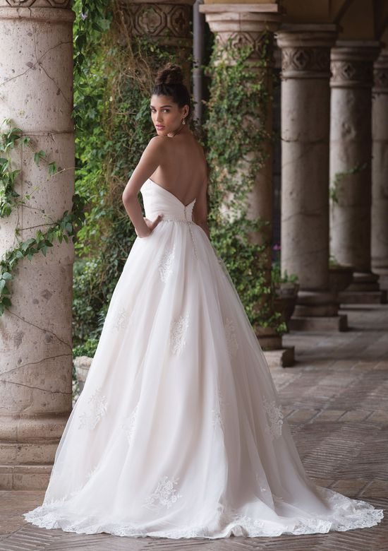 Sincerity Bridal Style 4036 Pleated Tulle Ball Gown with Lace Appliques and Jeweled Belt