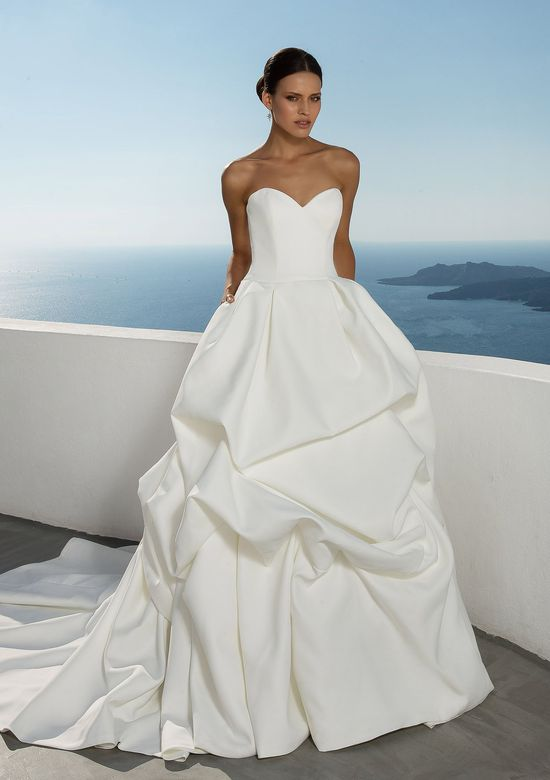 Justin Alexander Style 88028 Satin Dropped Waist Ball Gown with Pick Up Skirt