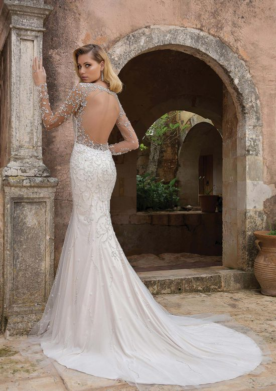 Justin Alexander Style 88060 Long Sleeve Fit and Flare with Open Back