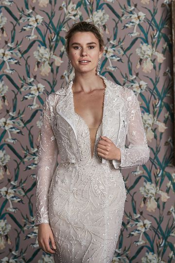 Justin Alexander Signature Style 99163J ELLA JACKET Bridal Moto Jacket Embellished with Sequins and Beaded Lace