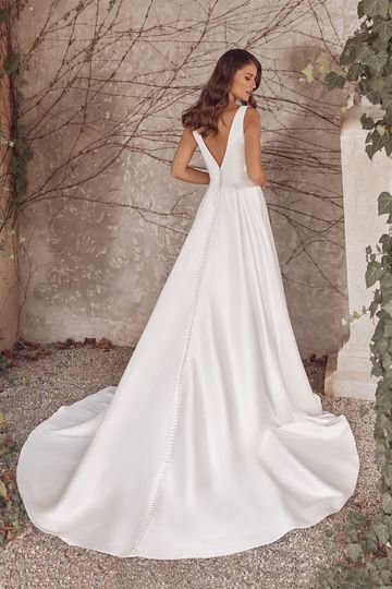 Justin Alexander Style 88146 April Stretch Mikado A-Line Gown with Deep V-Neck