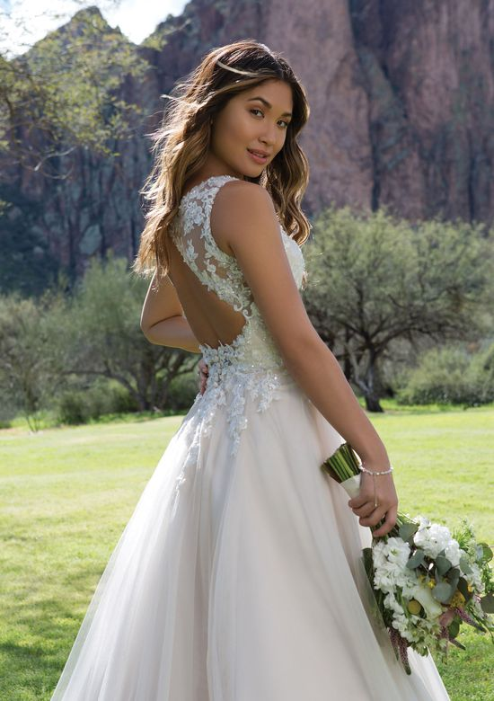 Sweetheart Gowns Sequin Lace A-Line Gown with Keyhole Back