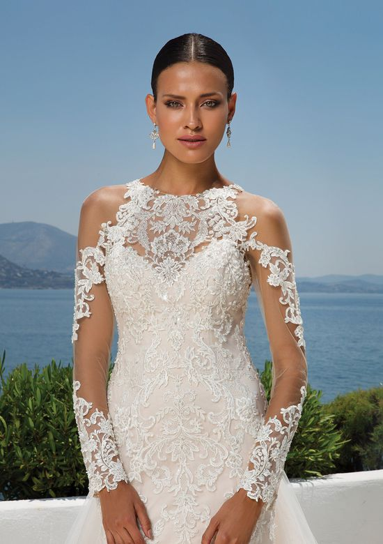 Justin Alexander Style 8964 Beaded Lace Jewel Neck Gown with Cold Shoulder, Illusion Lace Sleeves and Detachable Train
