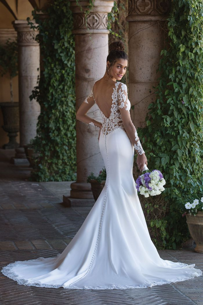 Sincerity Bridal Style 4015 Satin Fit and Flare Gown with Detachable Long Sleeves