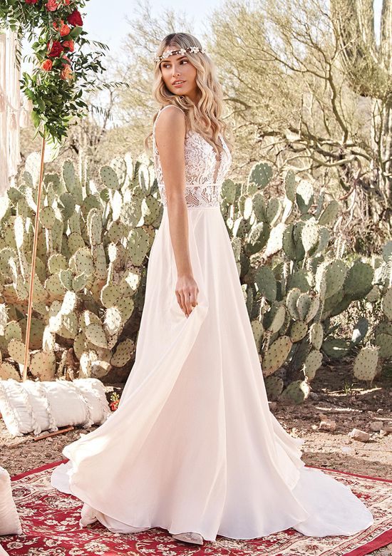Lillian West Style 66059 Chiffon A-Line Dress with Plunge Illusion V-Neck