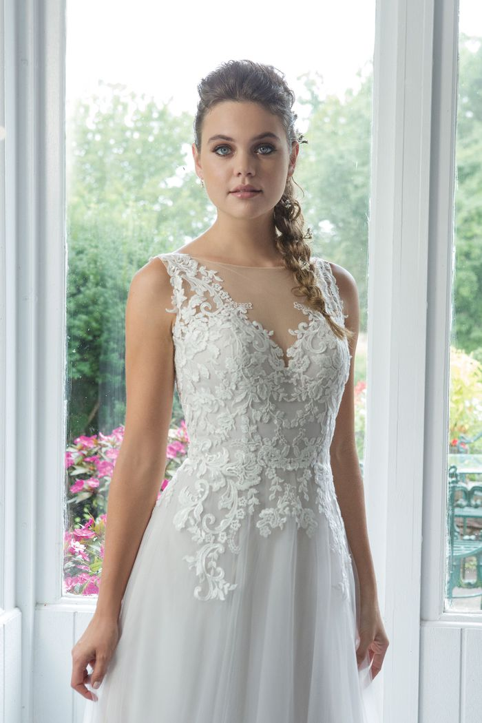 Sweetheart Gowns Style 11093 English Net A-line Gown with Venice Lace Appliques