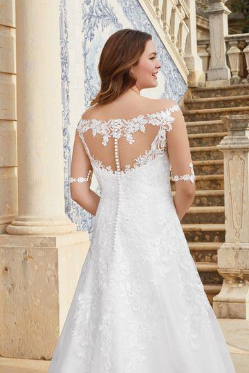 Sincerity Bridal Style 44058PS Off the Shoulder Lace Illusion A-Line Plus Size Gown