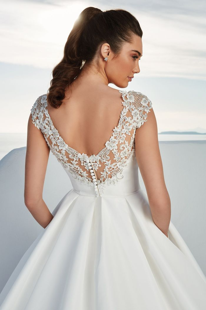 Justin Alexander Style 88177 Brighton Faille Ball Gown with Cap Sleeves and Box Pleats