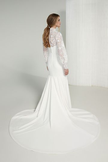 Justin Alexander Signature Style 99217J Michelle Jacket High Neck Lace Jacket with Bishop Sleeves